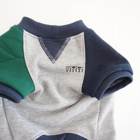 butaさんスウェットTシャツ//グリーンネイビー*フレブル服TiTiTi