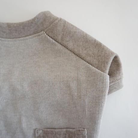 ヒッコリーデニムのラグランTシャツ// ブラウン       *フレブル服TiTiTi