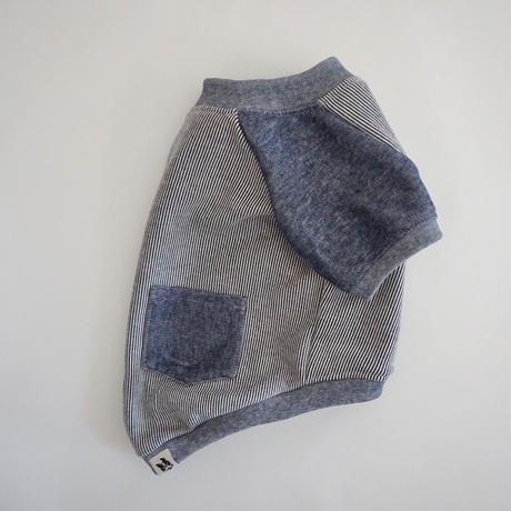 ヒッコリーデニムのラグランTシャツ//ネイビー       *フレブル服TiTiTi