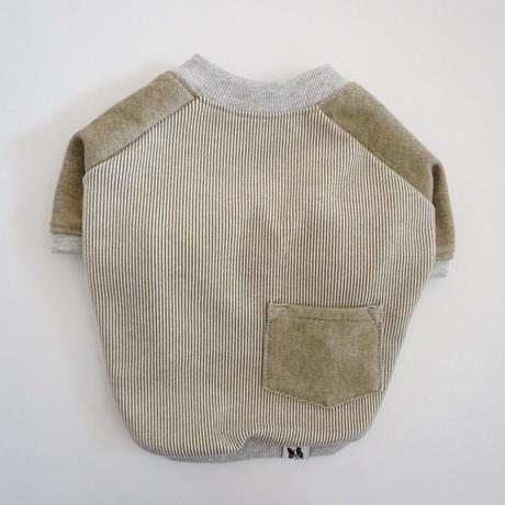 ヒッコリーデニムのラグランTシャツ// オリーブ       [フレブル服TiTiTi]