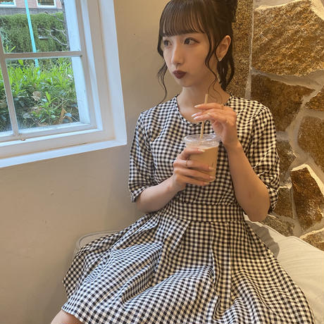 【titty&Co.PETITオフィシャルサイト限定】バックオープンチェックワンピース