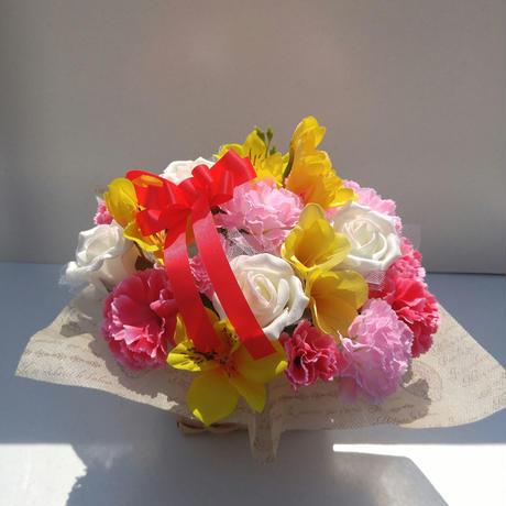 母の日 造花アレンジメントピンク黄色系