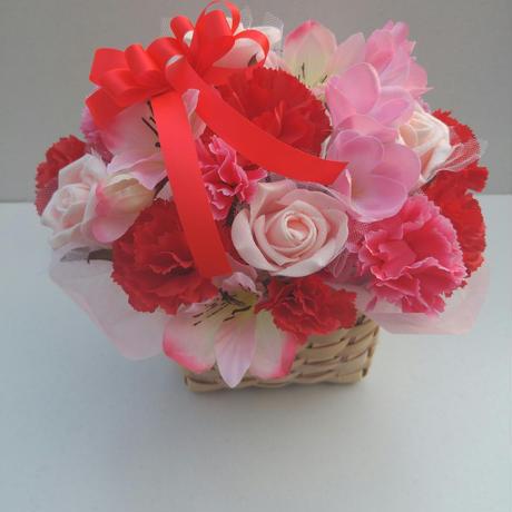 母の日 造花アレンジメント赤ピンク系
