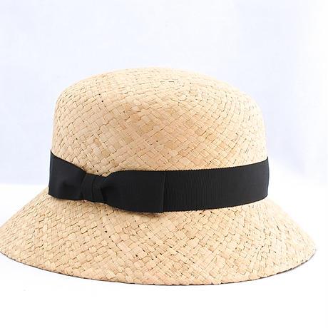 石目ラフィア 角クロッシェ帽