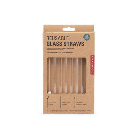 "Reusable Glass Straws ""Clear """