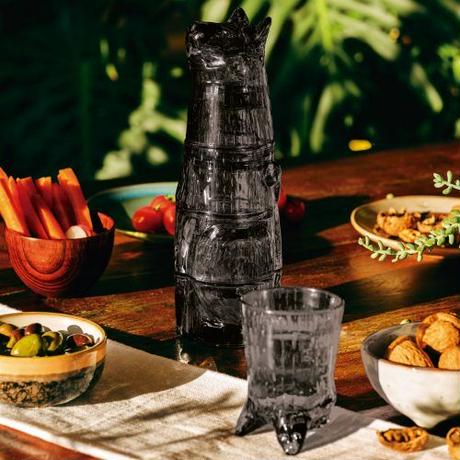 """Kitty Stackable Glass """"Black"""""""