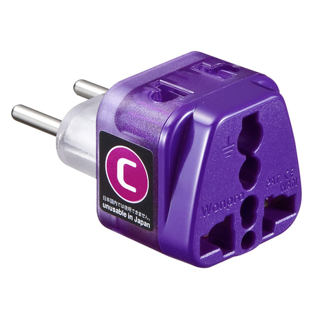 Power plug shape conversion adapter for Europa (Type-C) SANWA SUPPLY