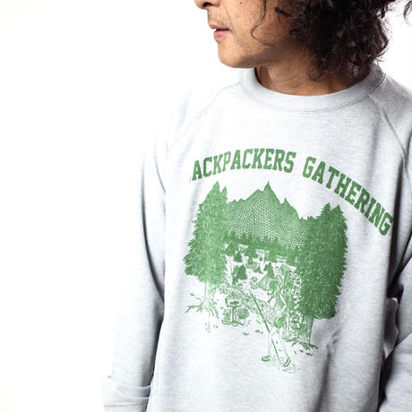 "UNHALFDRAWING/SWEAT LONGSLEEVE""BACKPACKERS GATHERING"""