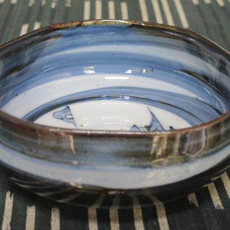 伊万里陶苑 呉須刷毛山水絵4.5寸なぶり鉢