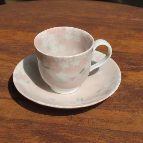 艸窯(草場勇次)・うす桃色桜珈琲碗皿