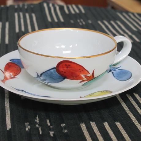 痴陶人(伊万里陶苑)色絵茄子絵紅茶碗皿