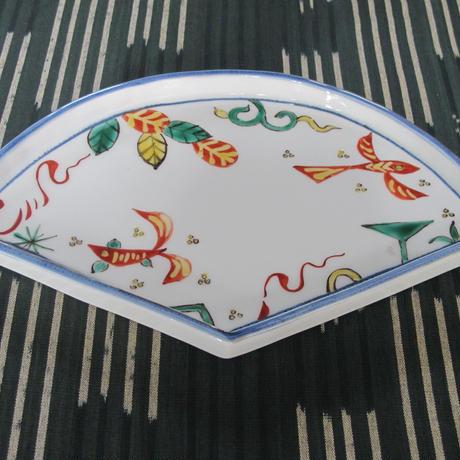 痴陶人(伊万里陶苑)魚藻紋扇型皿