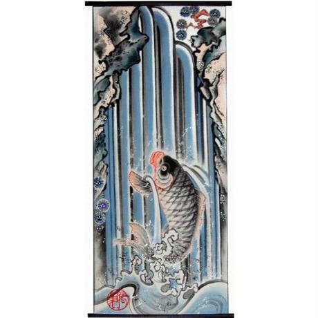 いわき絵のぼり 鯉の滝登り 室内幟壁掛け(H170×W70cm 棒80㎝)
