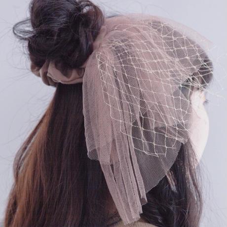 umu 人魚姫のシュシュ ピンクチェック×ホワイトレース