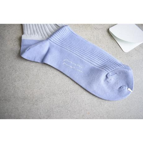 ritsuko karita     two tone rib socks(blue gray)