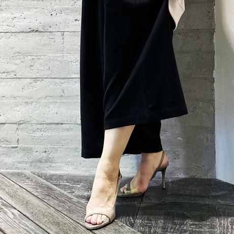 クリアバイアスデザインヒールサンダル/Clear bias design heel sandals L0220 (BROWN)