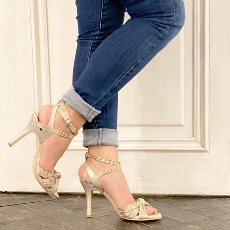 ノットデザインヒールトラップサンダル / Knot design heel trap sandals L0177(L.GOLD)