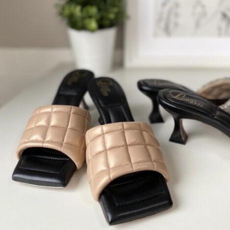 スクエアトゥキルティングミュールサンダル/Square to quilted mule sandals L0227(BEIGE)