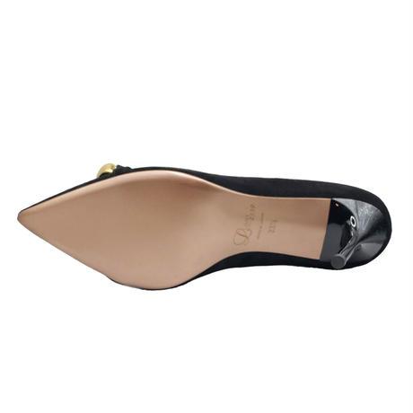 チェーンデザインポインテッドヒールパンプス/Chain Design Pointed Heel Pumps L0214 (BLACK/S)