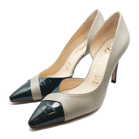 ポインテッドトゥセパレートヒールパンプス/Pointed to separate heel pumps L0224(GREEN/C)