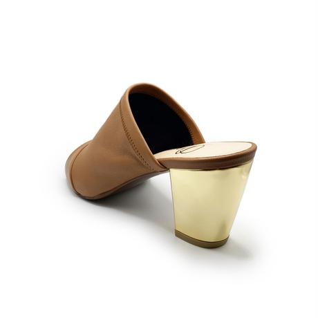 チャンキーヒールディープミュール/Chunky heel deep mules L0228(M.BROWN)