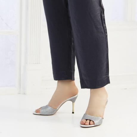 スパイクヒールミュールサンダル/Spike heel mule sandals L0217(SILVER)