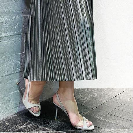 クリアバイアスデザインヒールサンダル/Clear bias design heel sandals L0220 (SILVER)