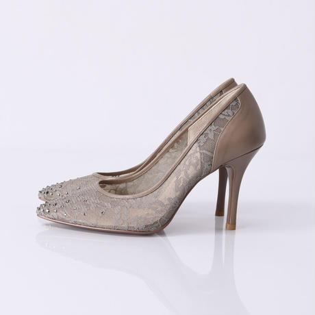ラインストーンチュールヒールパンプス / Rhinestone tulle heel pumps L0210(OAK)
