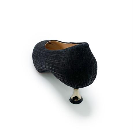 ソフトスクエアレトロヒールパンプス/Soft Square Retro Heel Pumps L0225 (BLACK)