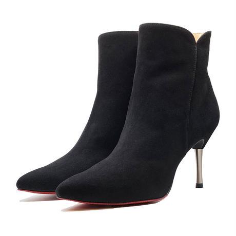 オールウェザーポインテッドカットワークスパイクヒールショートブーツ/All Weather Pointed Cutwork Spike Heel Short Boots L0229(BLACK/S)