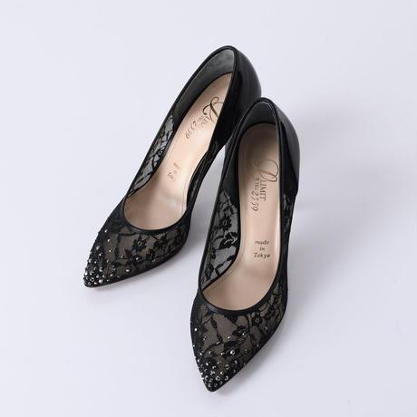 ラインストーンチュールヒールパンプス / Rhinestone tulle heel pumps L0210(BLACK)