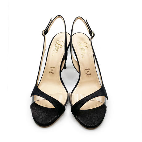 クリアバイアスデザインヒールサンダル/Clear bias design heel sandals L0220 (BLACK)