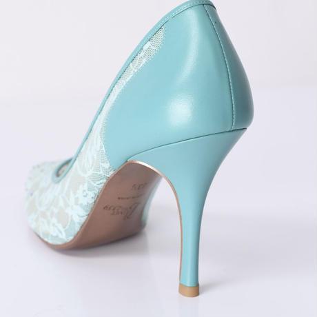 ラインストーンチュールヒールパンプス / Rhinestone tulle heel pumps L0210(L.GREEN)