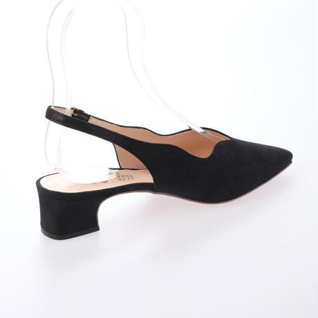 スカラップカットローヒールパンプス / Scallop cut Low Heel Pumps L0208 (BLACK)
