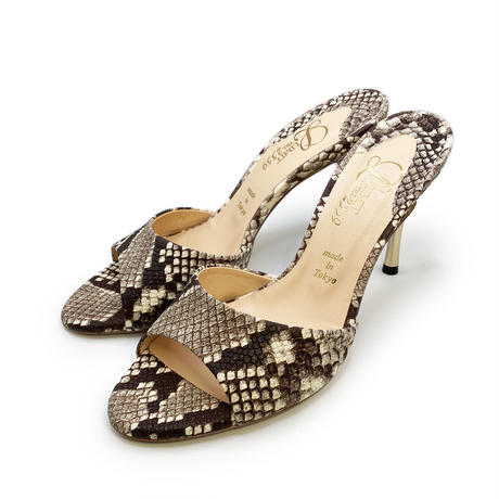 スパイクヒールミュールサンダル/Spike heel mule sandals L0217(PYTHON)
