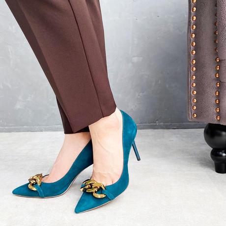 チェーンデザインポインテッドヒールパンプス/Chain Design Pointed Heel Pumps L0214 (GREEN/S)