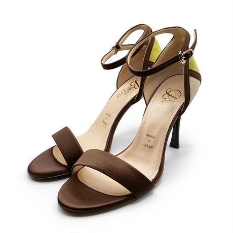 カラーパネルネックストラップサンダル/Color panel neck strap sandals L0219 (BROWN)