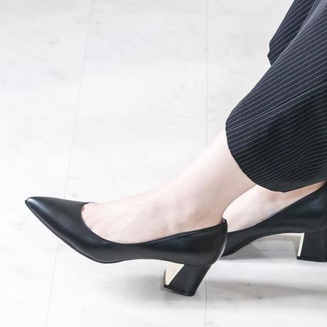 ポインテッドチャンキーヒールパンプス /  Pointed Chunky Heel Pumps L0201 (BLACK)