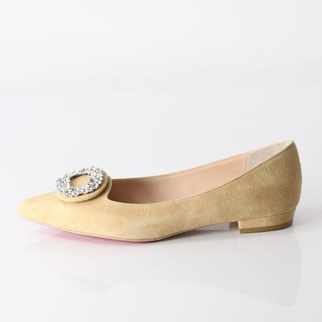 ビジューバックルフラットシューズ / Bijou buckle flat shoes L0223(BEIGE/S)