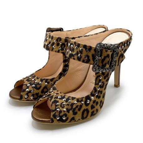 オープントゥスタッズドミュール  / Open toe studded mules L0180(LEOPARD)