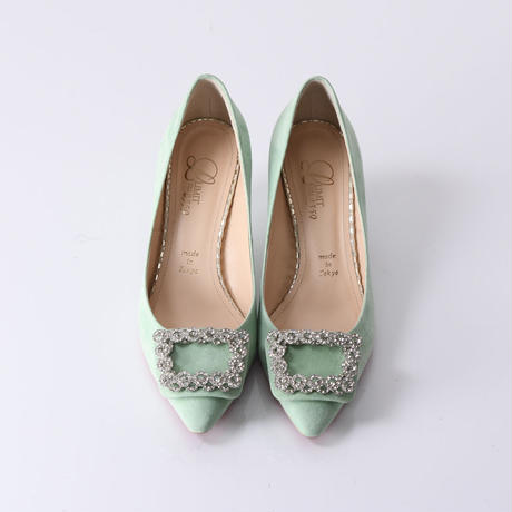 ビジューバックルヒールパンプス / Bijou buckle heel pumps L0221(L.GREEN/S)
