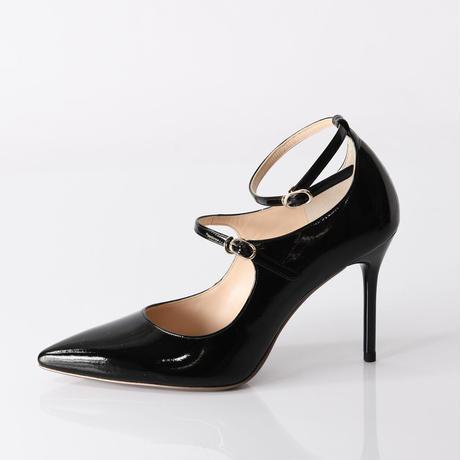 ポインテッドトゥストラップヒールパンプス / Pointed toe strap heel pumps L0211 (BLACK)