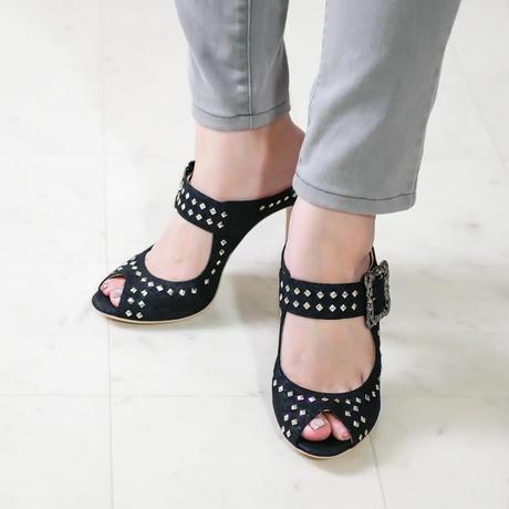 オープントゥスタッズドミュール  / Open toe studded mules L0180(DENIM)
