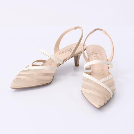 チュールコンビネーションスリングバックヒールパンプス / Tulle combination sling back heel pumps L0216 (BEIGE)