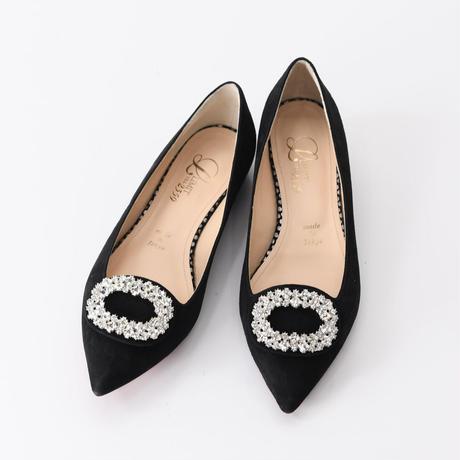 ビジューバックルフラットシューズ / Bijou buckle flat shoes L0223(BLACK/S)