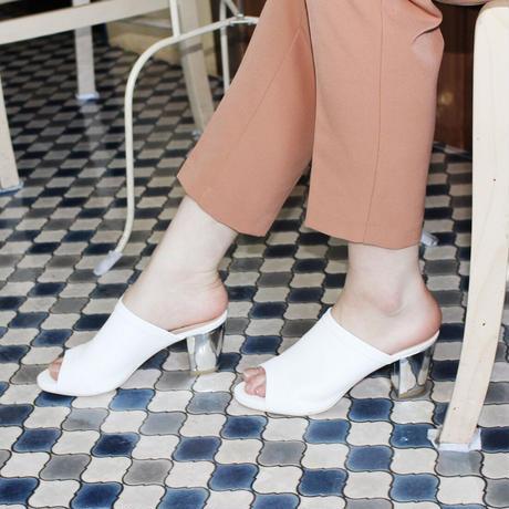 チャンキーヒールディープミュール/Chunky heel deep mules L0228(WHITE)
