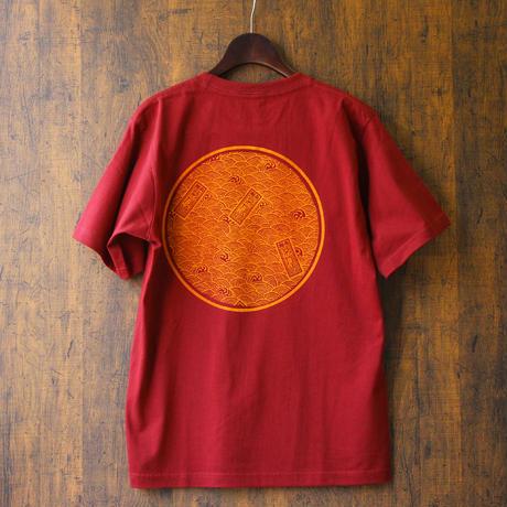 田村屋「茅ヶ崎Tシャツ」《丸に青海波》 えんじ×橙(送料込み)(商品コード:TA190209)