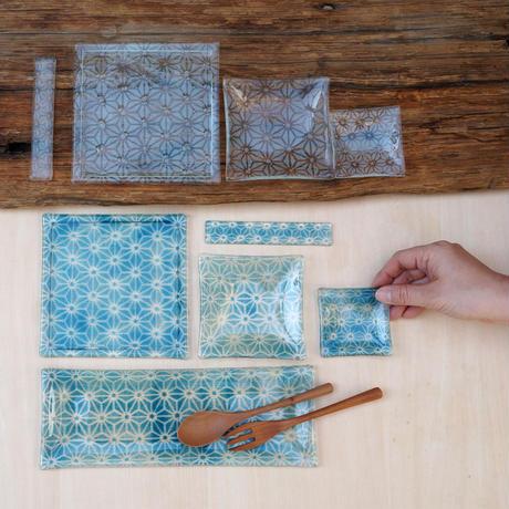 麻の葉ガラス角皿 TOKYO FANTASTIC× Glass & Art MOMO
