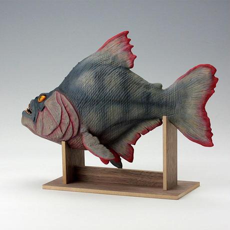 Piranha Prop Replica Model (Latex version) with walnut display stand