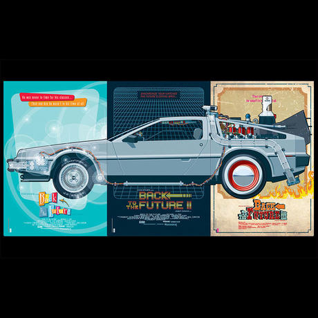 BTTF-DeLorean Triptych by Jakob Staermose